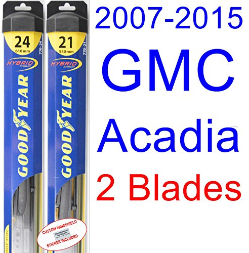 2007-2015 GMC Acadia Replacement Wiper Blade Set/Kit (Set of 2 Blades) (Goodyear Wiper Blades-Hybrid) (2008,2009,2010,2011,2012,2013,2014) (Gmc Acadia Replacement Parts compare prices)