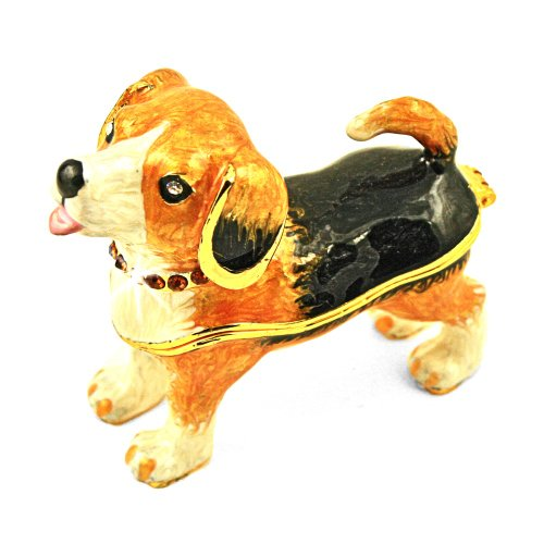 "Objet D'Art Release #111 ""Our Other Dog Cheech"" Purebred Beagle Dog Handmade Jeweled Enameled Metal Trinket Box"