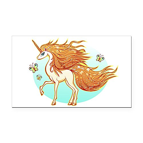 Rectangle Car Magnet Large Golden Sparkle Unicorn with Butterflies