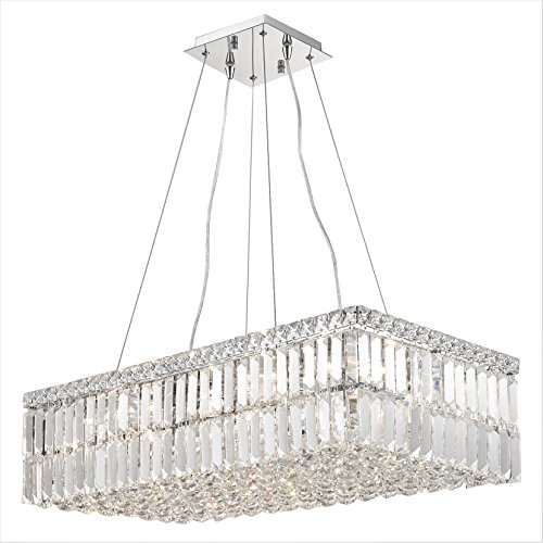 Worldwide Lighting W83525C28 Cascade Collection 16 Light Chrome Finish And Clear Crystal Rectangle Chandelier, 28