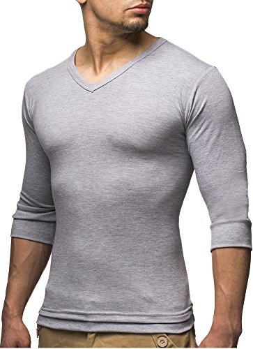 Leif Nelson Basic Herren 3/4 Arm Sweatshirt LN2026 (XXL, Grau)