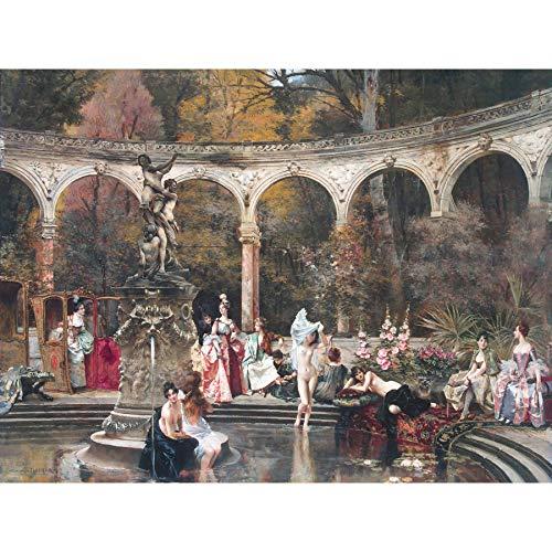 - Flameng Bathing Court Ladies 18th Century Painting Large Wall Art Print Canvas Premium Mural