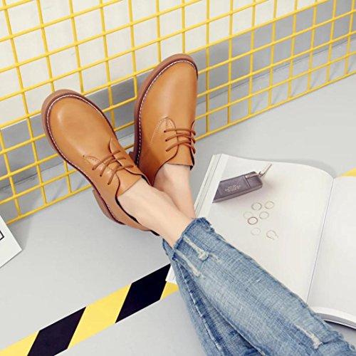 Zapatos de mujer, Ouneed ® Moda talón plano Casual de primavera las mujeres estudiante estilo encaje zapatos marrón