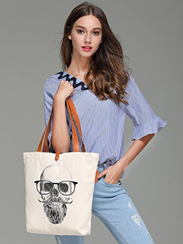 So'each Women's Glasses Skull Sketch Graphic Top Handle Canvas Tote Shoulder Bag
