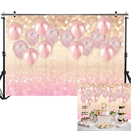 Allenjoy 7X5ft Vinyl Pink Balloon Golden Glittter Bokeh Photography Backdrop for Girls Kids Birthday Baby Shower Rose Gold Party Decorations Background Photo Studio Props Banner