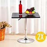 Topeakmart Pub Table Adjustable 360° Swivel Bar Round/Square MDF Top (1 pcs Square Bar )