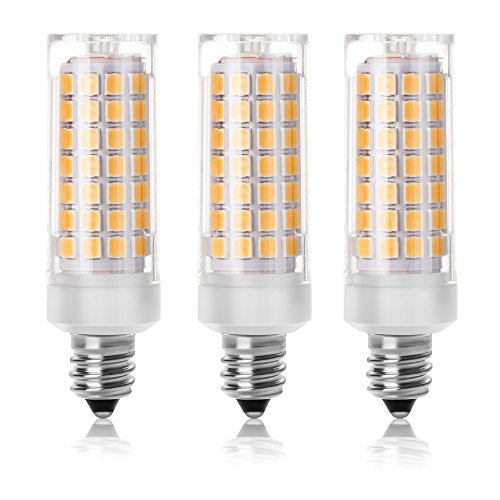 SHKNH E11 Led Light Bulb, Mini Candelabra Base Led Bulb, 6W, Repalcement 75W E11 Halogen Lamp, Warm White 3000K, for Ceilling Fan, Chandeliers, Not-Dimmable.(Pack of 3) ()