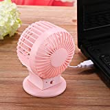 New USB Fan, Creative Charging Double Leaf Fan, Mini Desktop Portable Fan (PINK)