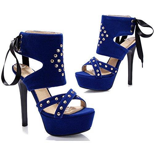 Sandales Femmes Blue Hauts Plateforme Talons Taoffen OAU1FnO