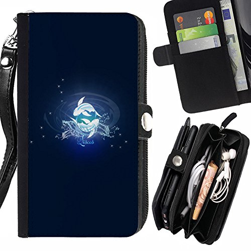 STPlus Pisces Zodiac Sign Horoscope Wallet Card Holder with Strap and Zipper Cover Case for Apple iPhone 6 / 6S