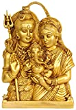 Baby Ganesha in the Lap of His Parents - Shiva Parvati (Wall Hanging) - Brass Statue