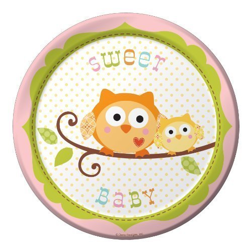 Creative Converting Happi Tree Sweet Baby Girl Round Dessert Plates, 8 Count Children, Kids, Game