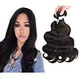 3 Bundles Brazlian Real Human Hair Body Wave Extension 26 inches,#1B Nature Black No Shedding Tangle Free