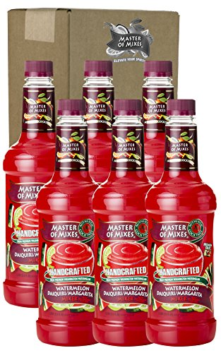 Master of Mixes Watermelon Daiquiri / Margarita Drink Mix, Ready To Use, 1 Liter Bottle (33.8 Fl Oz), Pack of 6