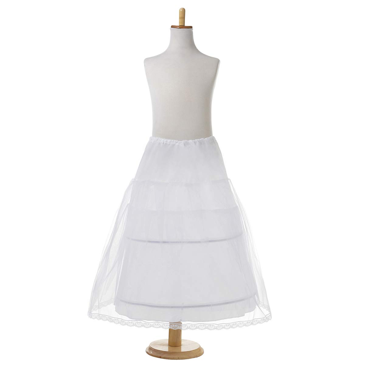 AWEI Girls Ball Gown Petticoat 3 Layers 2 Hoops Kids Wedding Tutu Crinoline Underskirt