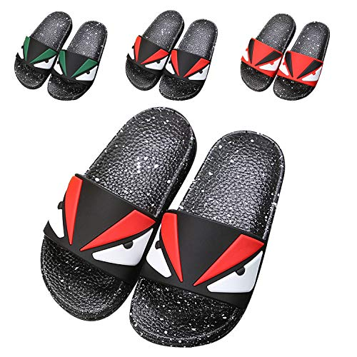 JACKSHIBO Boys Girls Slide Sandals, Outdoor Indoor Sandals Beach Water Flip Flop 6668-black 12.5 Little Kid
