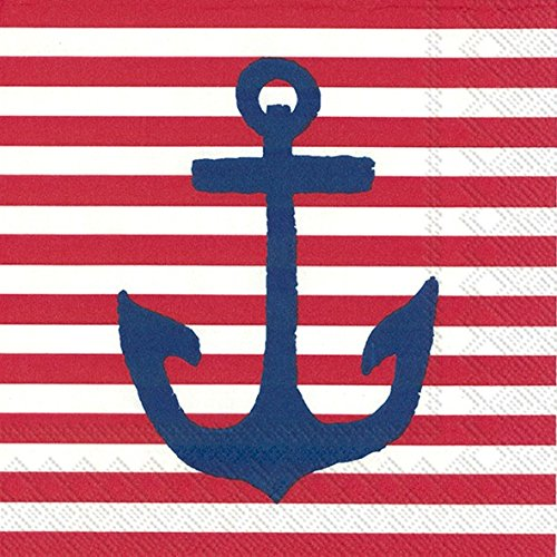 Boston International 20 Count Yacht Club 3-Ply Paper Cocktail Napkins, Red Anchor