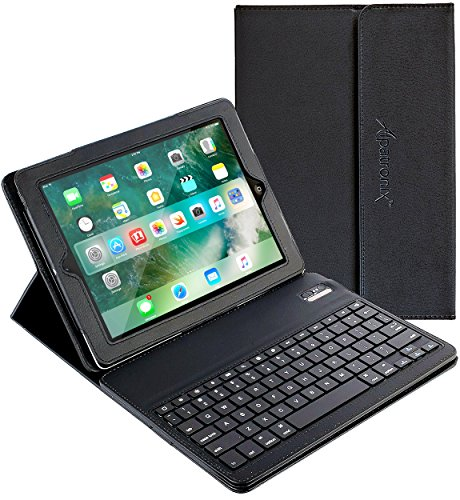 iPad Keyboard + Leather Case, Alpatronix KX100 Bluetooth iPad Keyboard Case with Removable Wireless Keyboard, Folio Protection & Built-in Tablet Stand for iPad 4, 3, 2, 1 [iOS 10+ Support] - (Black)