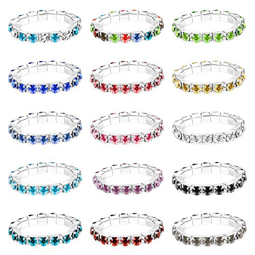 Ring Ankle Bracelet - Finrezio 15Pcs (15 Colors) Toe Rings for Women Crystal Finger Ring Set Elastic Adjustable Mixed Color Finger Foot Jewelry Pack (D:15 PCS Toe Rings)