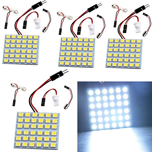 EverBright 4-Pack Super White 3th Generation Energy-saving 5050 36-SMD LED Panel Dome Light Auto Car Interior Reading Plate Lamp Roof Ceiling Interior Bulb With T10 / BA9S / Festoon Adapters (DC-12V)