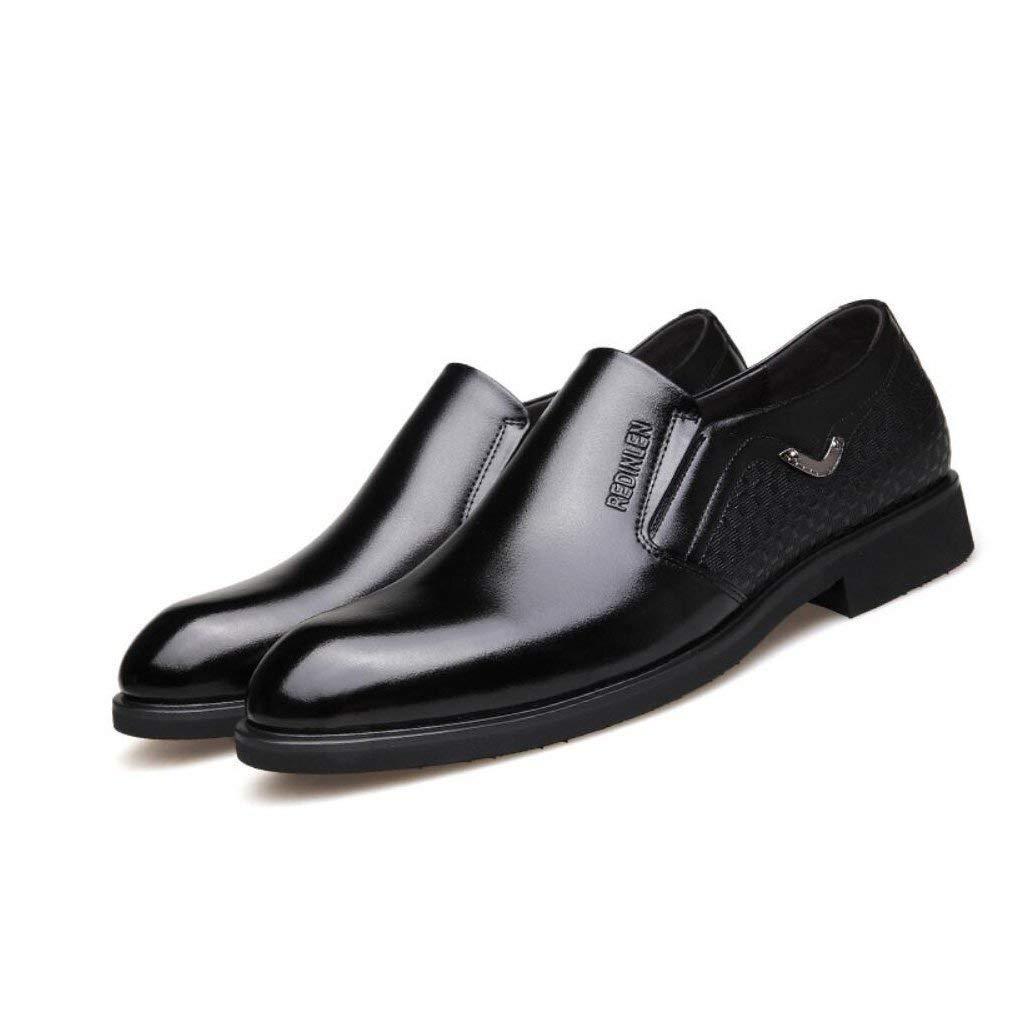 FuweiEncore Herren Geschäfts Schuhe, Kleider Schuhe, Frühlings Leder Spitz Schuhe, Hochzeit Modische Büro Formale Flache Schuhe, Schwarz, Braun,schwarz,39 (Farbe   Wie Gezeigt, Größe   Einheitsgröße)