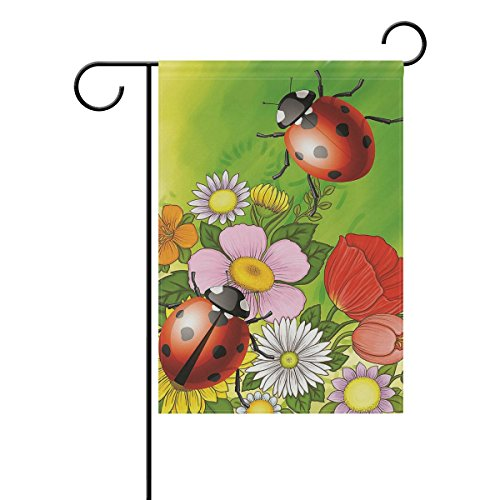 ALAZA Home Decorative Outdoor Double Sided Ladybird and Floral Garden House Yard Flag Decorations, Red Pink and White Flower Seasonal Welcome Flags 28 x 40 Spring Summer Gift
