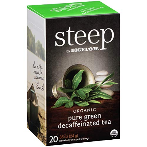 - Steep by Bigelow Organic Pure Green Decaffeinated Tea 20 Count (Pack of 6) Decaffeinated Individual Green Tea Bags, for Hot Tea or Iced Tea, Drink Plain or Sweetened with Honey or Sugar