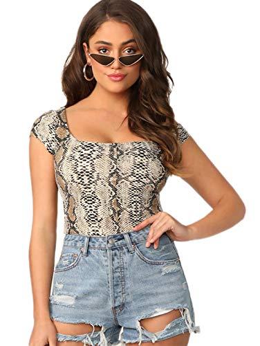 (Romwe Women's Snakeskin Print Short Cap Sleeve Scoop Neck Slim Fit Crop Tee Top Multicolor XS)