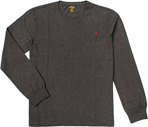 Polo Ralph Lauren Men's Custom-Fit Long Sleeve Tee, Dark Charcoal Heather, Small
