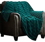 "quilted velour throw - Chic Home Atara Throw Blanket New Faux Fur Collection Cozy Super Soft Ultra Plush Micromink Backing Decorative Channel Quilted Design50"" x 60"" 50 x 60 Green"