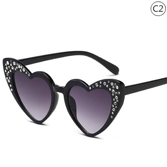 Wang-RX Gafas infantiles Rrend Rhinestones Love Heart Gafas ...
