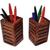 CraftExpertise Wooden Pen Stand/Pen Holder Set Of 2