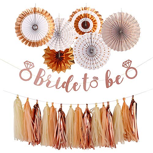 Single Girls Party Decoration- Rose Gold Bride to be banner Tissue Paper Tassels Garland set, Rose Gold Paper Fans Foil Hanging Party Fans Rose Glitter Photo Backdrop, for Bachelorette Engagement Wedding Anniversary or Hen Party Decorations Supplies