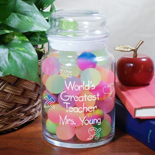 Personalized World's Greatest Teacher Treat Glass Jar, Holds 26 oz, Dishwasher Safe