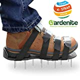 Premium Nylon Heavy Duty Lawn Aerator Shoes - 4 Adjustable Straps and Metal Buckles - Nylon Aerating Sandals with Zinc Alloy Buckles - Extra Spikes and Bonus Wrench Included