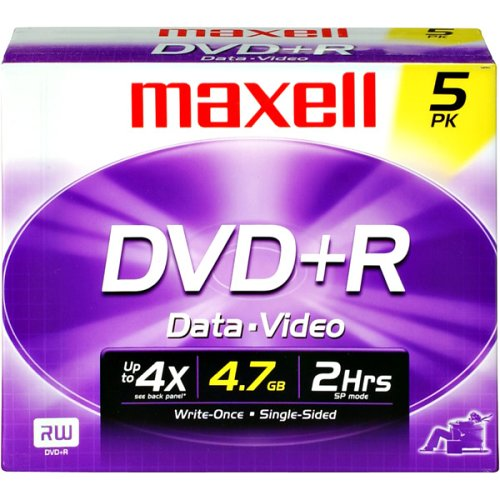 Maxell 639002 Write Once Recording Format Superior Archival Life DVD Playback  4.7Gb Dvd+R 10mm Jewel 5 Pack