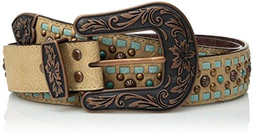 - Nocona Belt Co. Women's Turquoise Buck Copper Stud Buckle Belt, brown, Small