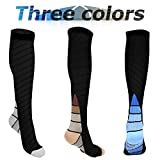 COOLOO [3 Pairs Compression Socks (20-30 mmhg) for Women & Men, Graduated Athletic Sport Socks Fit for Running, Biking, Flight Travel, Maternity Pregnancy, with Boost Stamina & Circulation, Recovery