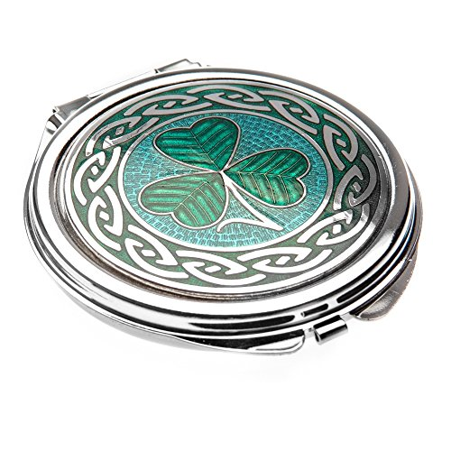 (Glass Enamelled Rhodium Plated Celtic Shamrock Compact Mirror)