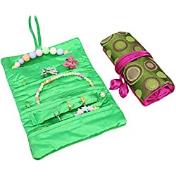 kilofly 2pc Soft Silk Embroidery Brocade Jewelry Roll Travel Organizer Pouch Set