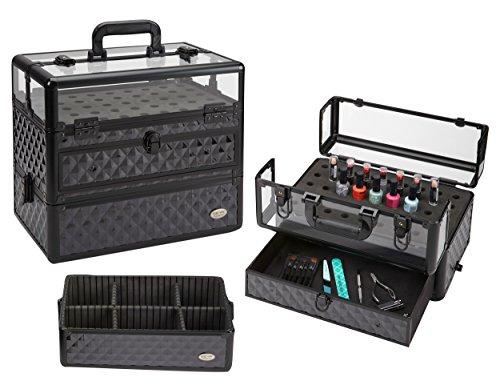 Seya Professional 45 Nail Polish Clear Panel Makeup Artist Organizer Cosmetic Case w/ Slide Out Drawer - Black Diamond