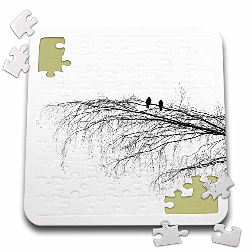 3dRose Alexis Photography - Birds - Two Pigeons on a Birch Tree Branch. Black and White Photo Silhouette - 10x10 Inch Puzzle (pzl_281183_2) ()
