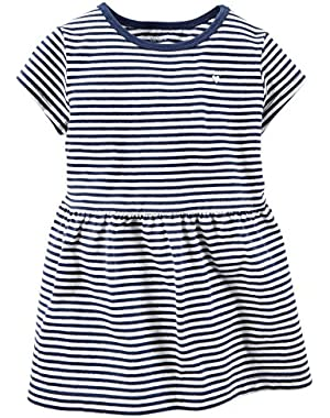 Girl's S/S Navy Striped Sparkle Tee