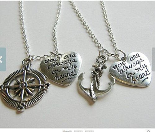Spring Sale 2 Anchor and Compass You Are Always In My Heart Best Friends Necklaces, Couples Necklaces, Sisters Necklaces, Anchor And Compass