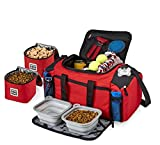 Overland Dog Travel Bag - Ultimate Week Away Duffel For Med And Large Dogs - Includes Bag, 2 Lined Food Carriers, Placemat, and 2 Collapsible Bowls, Multicoloured