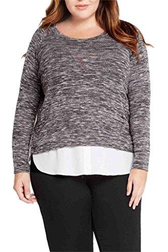 Layered Look Stripe Shirt (Womens Fashion Heathered Layered Shirt Look Knit Top USA (Plus Size) BK 3XL)