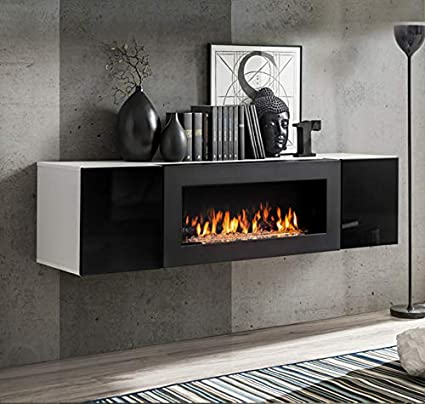 muebles bonitos Armario Colgante con Chimenea bioetanol ...