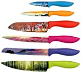Landscape Kitchen Knife Set in Gift Box - Stunning Gifts For Her and For Him - 6-Piece Colored Sharp Chef Knives Set - Perfect Present for Birthday, Relationship, Friends, Family, Holidays, Graduation