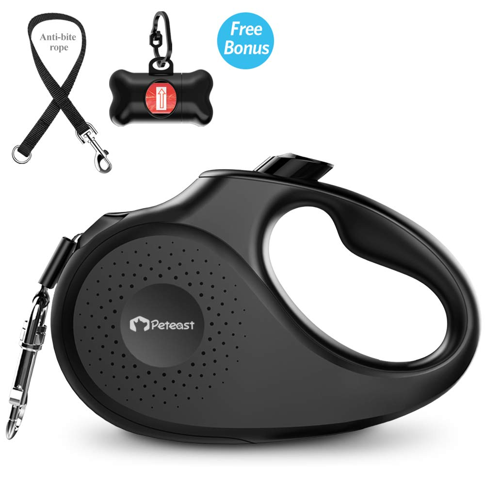 Peteast Retractable Dog Leash, 360° Tangle-Free, Heavy Duty Up to 55lbs pets, 16ft Strong Reflective Nylon Tape with Waste Bag Dispenser, One-Handed Brake/Pause/Lock