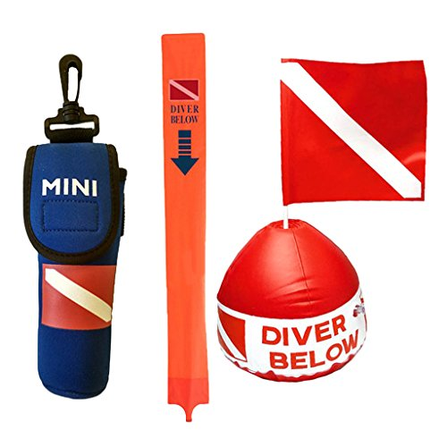 """MonkeyJack Diving Buoy Float Diver Down Kayak Boat Flag with Dive Buoy """"Diver Below"""" Marker for Safety Scuba Diving Spearfishing"""